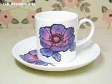 画像2: SC218 Susie Cooper スージークーパー ブルーアネモネ コーヒーカップ&ソーサー  (2)