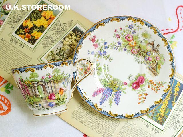 画像1: OB121 Aynsley エインズレイ ガーデンパターン コーヒー カップ&ソーサー (1)