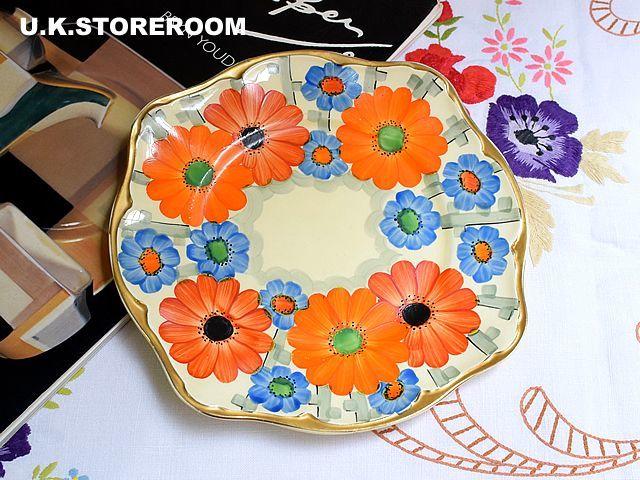 画像1: SC086 Gray's Pottery グレイズポタリー  フラワーパターン BBプレート (1)
