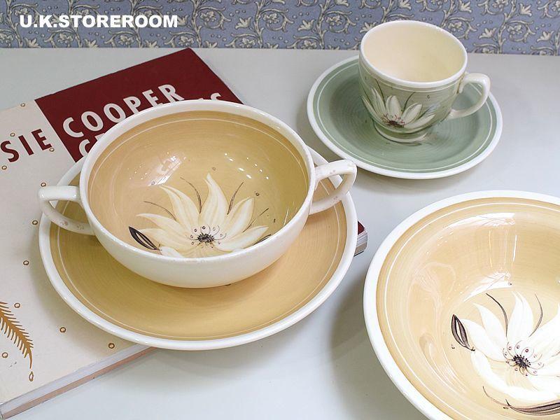 画像1: SC103 Susie Cooper  スージークーパー ウォーターリリィ スープカップ&ソーサー (1)