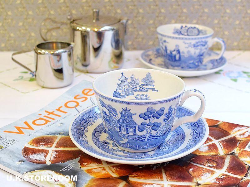 画像1: SPO105 Spode スポード  ブルールームコレクション -ウィロー- ティーカップ&ソーサー (1)