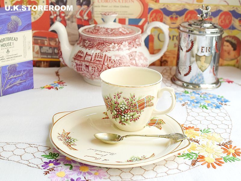 画像1: MB049 Staffs Tea Set Co Ltd. スタッフォードシャー ティーセット Co Ltd.   タータン&ヘザー TVセット (1)