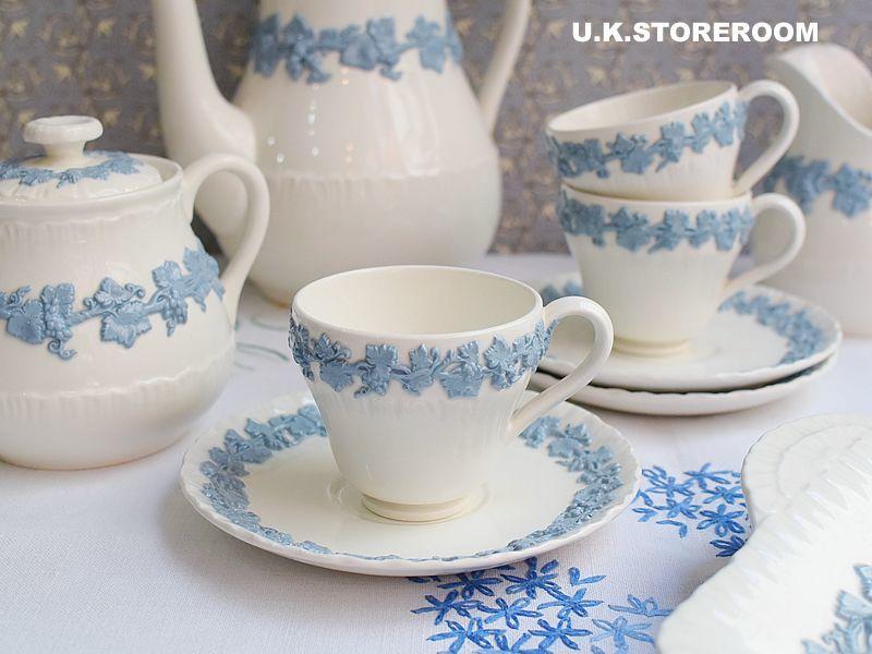 画像1: OB204 Wedgwood ウェッジウッド  クィーンズウエア コーヒーカップ&ソーサーA (1)