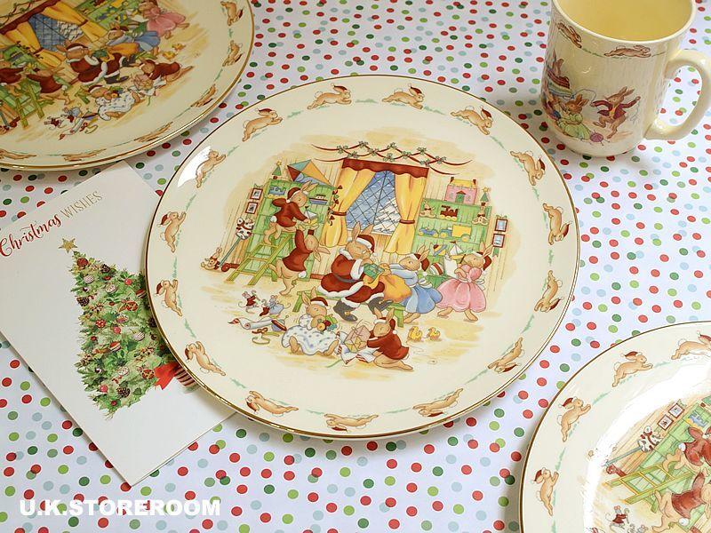 画像1: CH0148 Royal Doulton Bunnykins  ロイヤルドルトン バニキンズ クリスマスプレート (1)