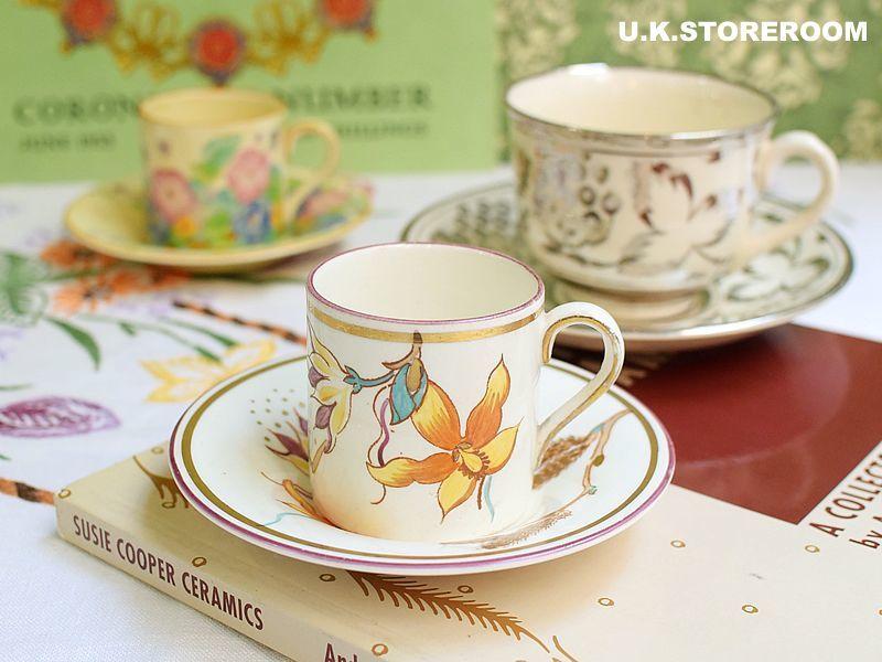 画像1: SC156 Gray's Pottery  グレイズポタリー ゴールデンカトキン デミタスカップ&ソーサー (1)