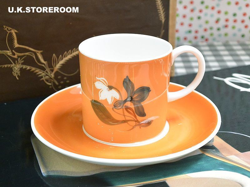 画像1: SC191 Susie Cooper  スージークーパー フラワーモチーフ オレンジ コーヒーカップ&ソーサー  (1)