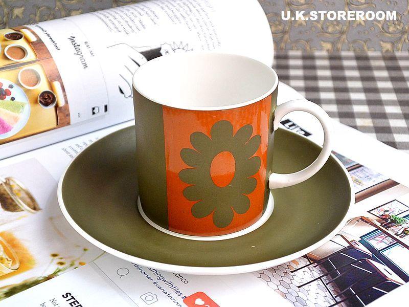 画像1: SC196 Susie Cooper スージークーパー カーナビーデイジー コーヒーカップ&ソーサーA  (1)