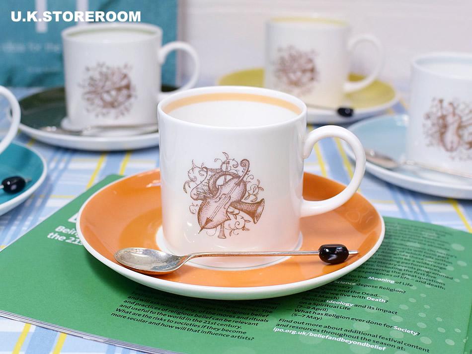 画像1: SC281 Susie Cooper  スージークーパー メロディ コーヒーカップ&ソーサー 〜オレンジ〜  (1)